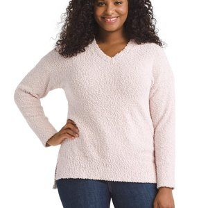 Sanctuary BNWT vneck teddy sweater Pink sz L cozy